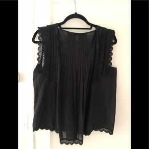 Love Sam Black lace trim top. Size small